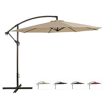 Ulax Furniture 10 Ft Outdoor Offset Hanging Market Umbrella, Cantilever Patio  Umbrella, Extra Thick