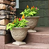 Sunnydaze Darcy Outdoor/Indoor Flower Pot Planter, Heavy-Duty Double-Walled Polyresin with Fade-Resistant Pebble Grey Finish, Set of 2, 16-Inch Diameter