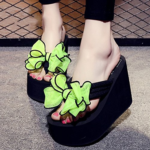for slip CN34 8 colors Female shoes 12cm Thick Color Slippers casual Size UK3 kinds EU35 beach 4 HAIZHEN shoes 9 Women bow sandals shoes Sweet Women Non of sand nfxpwnRHqY