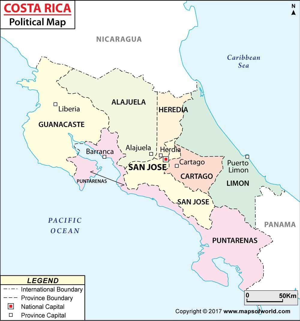 Mapa político de Costa Rica (36