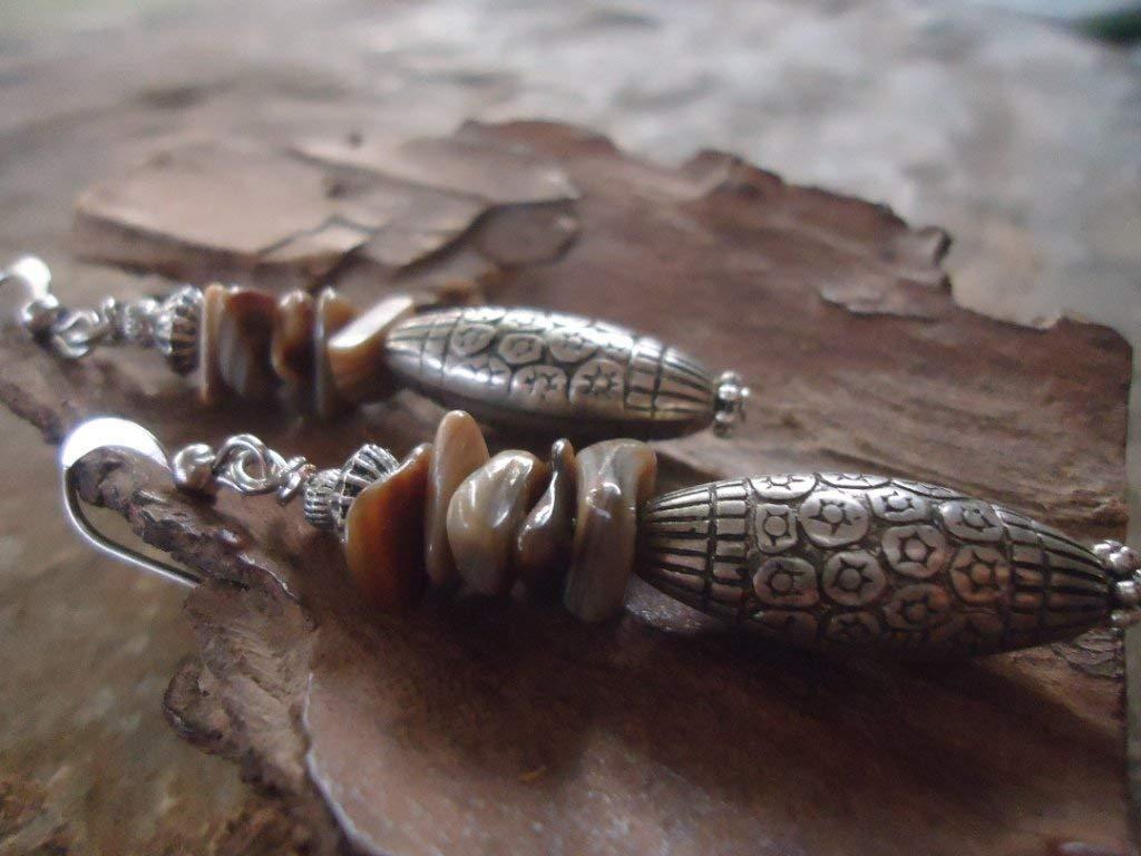 ♥ BOHO BALI STYL & piedra de nácar ♥ pendientes únicos