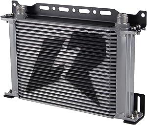 Aluminum AN10 British Type Engine Oil cooler + Mounting Bracket Kit (25Row, Silver)