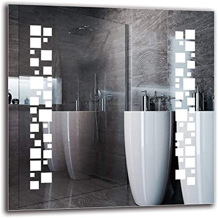 Miroir avec /éclairage Miroir Mural Pr/êt /à laccrochage Taille du Miroir 40x40 cm ARTTOR M1CP-53-40x40 Miroir LED Premium Miroir Lumineux Blanche Chaude 3000K Miroir de Salle de Bain
