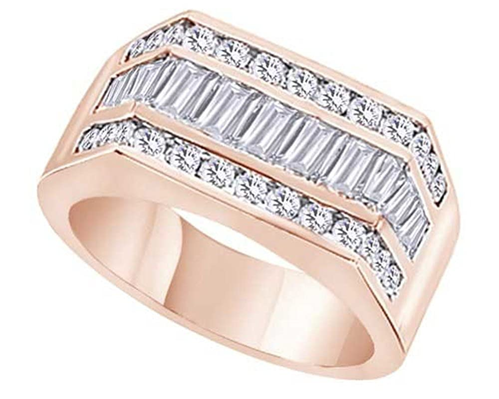 Wishrocks 14K Gold Over Sterling Silver Cubic Zirconia Mens Hip Hop 3 Row Band Ring