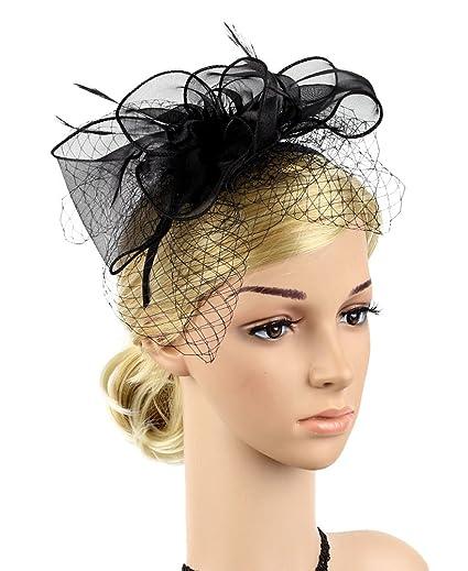 Urban CoCo Women s Bow Feather Net Veil Fascinator Hair Clip Bridal Hat ( 1- 791b98907c9