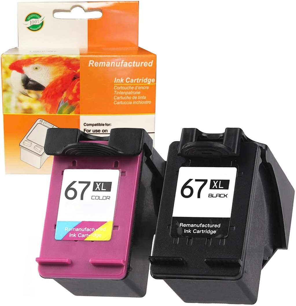 ZET Remanufactured Ink Cartridge Replacement for HP 67XL 67 XL 3YM57AN, 3YM58AN (1 Black 1 Tri-Color, 2 Pack)