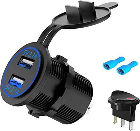 Auto USB Steckdose Dual USB Ladeger/ät 12V//24V Wasserdicht LED Digital Voltmeter Spannungsmesser +Zigarette Sockel f/ürAuto Boot Marine LKW SUV Baufahrzeug Blau