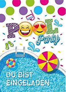 12 Einladungskarten Geburtstag Kinder Schwimmbad Für Mädchen Jungen Jungs  Einladungen Zum Kindergeburtstag Geburtstagseinladungen Set Partyset  Kartenset