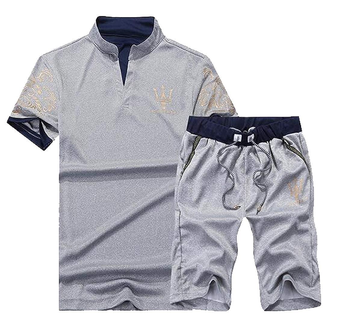 CRYYU Men Summer V Neck Print T-Shirt and Drawstring Shorts 2 Piece Sports Tracksuits