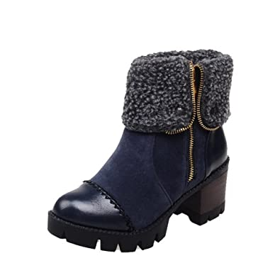 Women's Round Closed Toe Low-Top Kitten-Heels Solid Blend Materials Boots