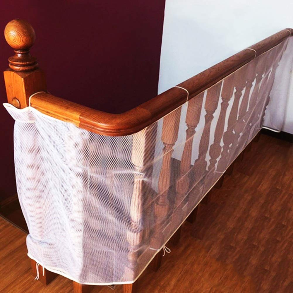 Child Safety Rail Net for Balcony, Patios, Railing and Stairs. Security Guards for Kids/Pet/Toy Both Indoors and Outdoors. 10ft x2.5ft, Sturdy Mesh Fabric Material.