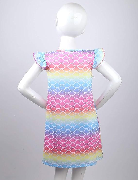 YOOJIA M/ädchen Nachthemden Meerjungfrau Kurzarm Kleid Prinzessin Nachthemd Nachtw/äsche Nachtkleid Kinder Nightdress Sleepwear