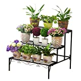3 Layer Plant Display Stand, Wrought Iron Stepped