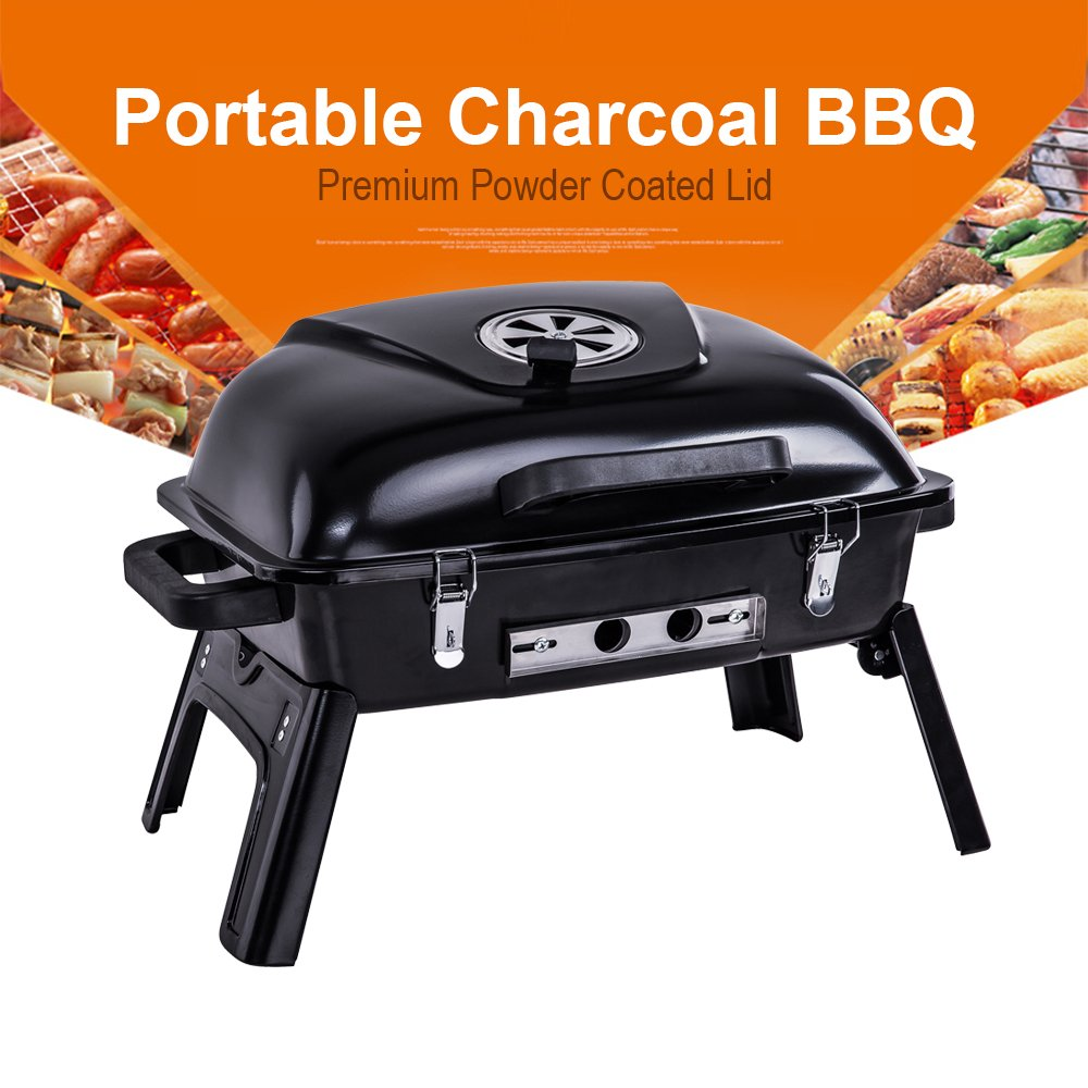 Amazon.com: Pinty Portable Folding Charcoal Grill Carbon Steel Tabletop BBQ  Grill For Outdoor Use, 250 Square Inch: Garden U0026 Outdoor