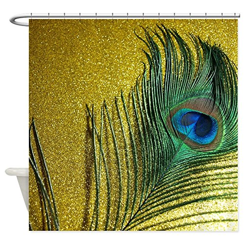 "CafePress Glittery Gold Peacock Decorative Fabric Shower Curtain (69""x70"")"