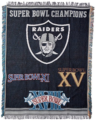 Officially Licensed NFL Oakland Raiders Commemorative Woven Tapestry Throw Blanket, 48
