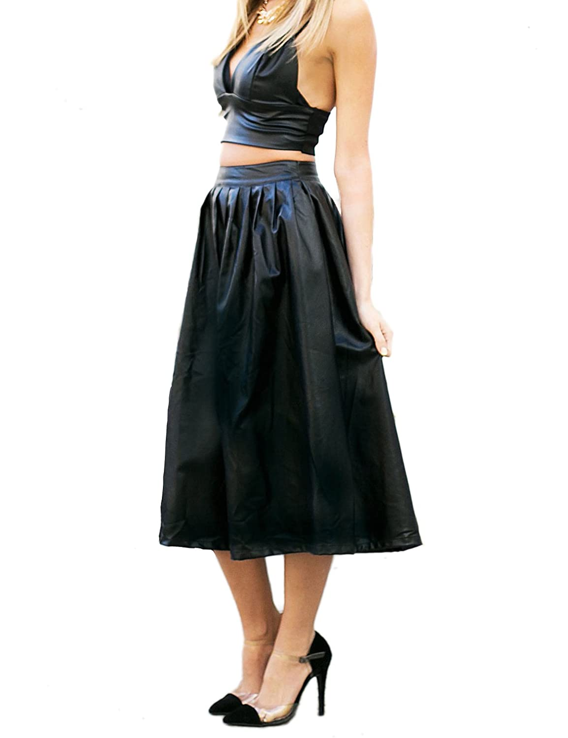 Aelegantmis Women's Faux Leather A-Line High Waist Pleated Midi Skater Skirt