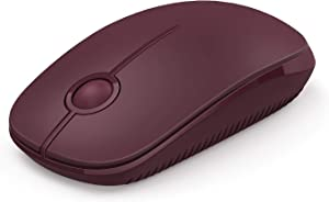 Jelly Comb 2.4G Slim Wireless Mouse with Nano Receiver, Less Noise, Portable Mobile Optical Mice for Notebook, PC, Laptop, Computer MS001 (Wine Red)