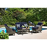 Hanover VENTURA4PC-NVY Ventura 4-Piece Patio Set, Navy Blue Outdoor Furniture