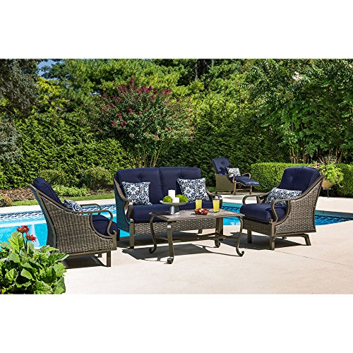 Hanover VENTURA4PC-NVY Ventura 4-Piece Patio Set, Navy Blue Outdoor Furniture (Four Company Furniture Seasons)