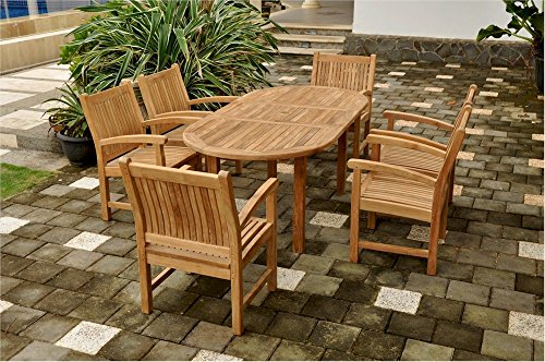 Anderson Teak Oval Extension Table & Sahara Stackable Armchair Set, 78