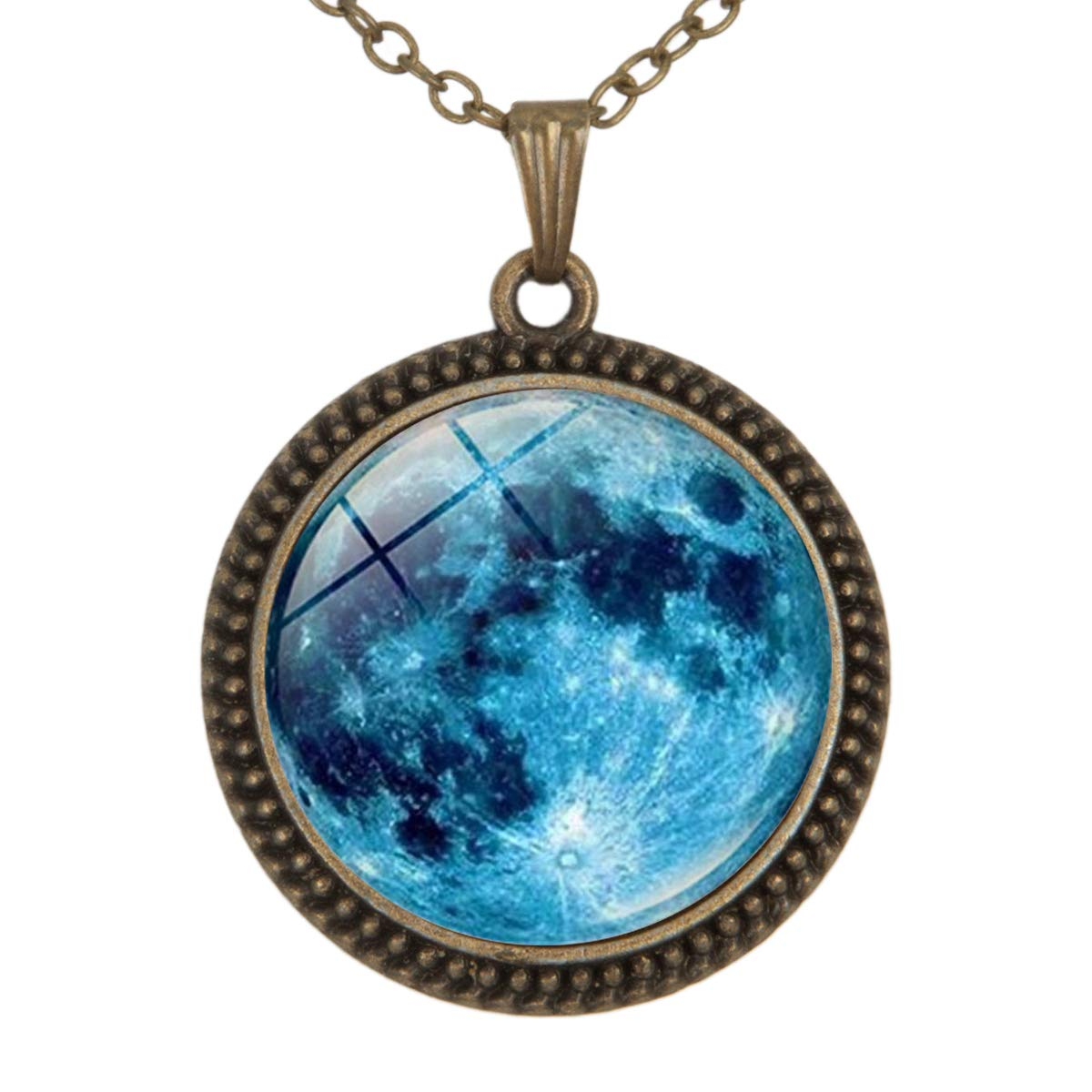 Lightrain Blue Planet Nebula Universe Pendant Necklace Vintage Bronze Chain Statement Necklace Handmade Jewelry Gifts