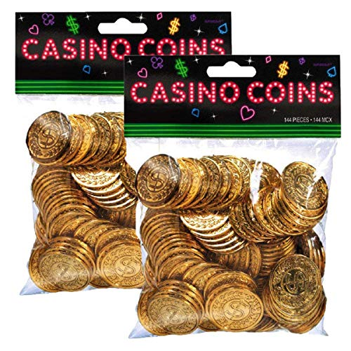 Plastic Casino Gold Coins, 288 Ct - Pacakaging May Vary (Gold Poker Chip)