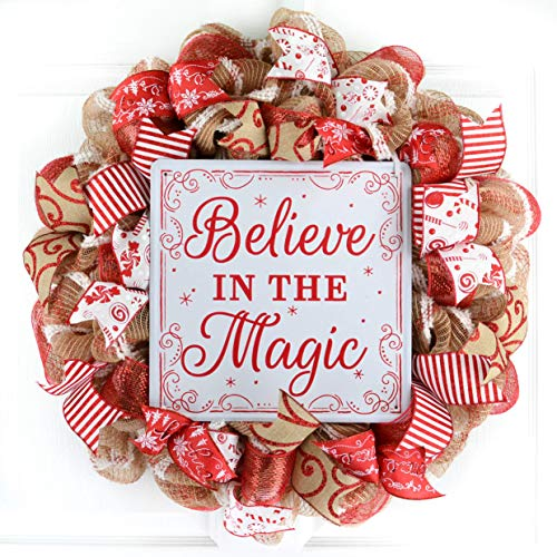 Red and White Believe in the Magic Christmas Wreath   Mesh Front Door Outdoor Wreath; Jute (Wreaths Christmas Mesh)