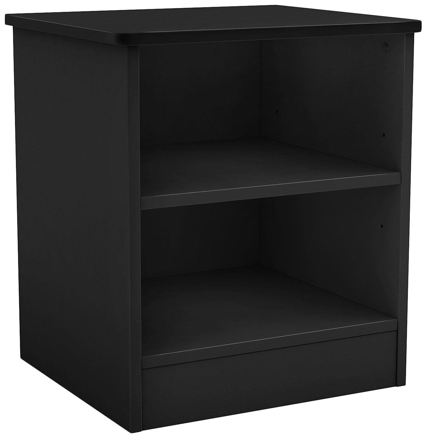 South Shore Libra Open 2-Shelf Nightstand, Pure Black