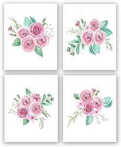 "4 Set- Flower Art Prints,Flower Art Decor,Watercolor Pink Flower Art Print,Blossom Floral Canvas Wall Art Printing for Girls Bedroom Decoration,Gift.(Unframed,8""X10"")"