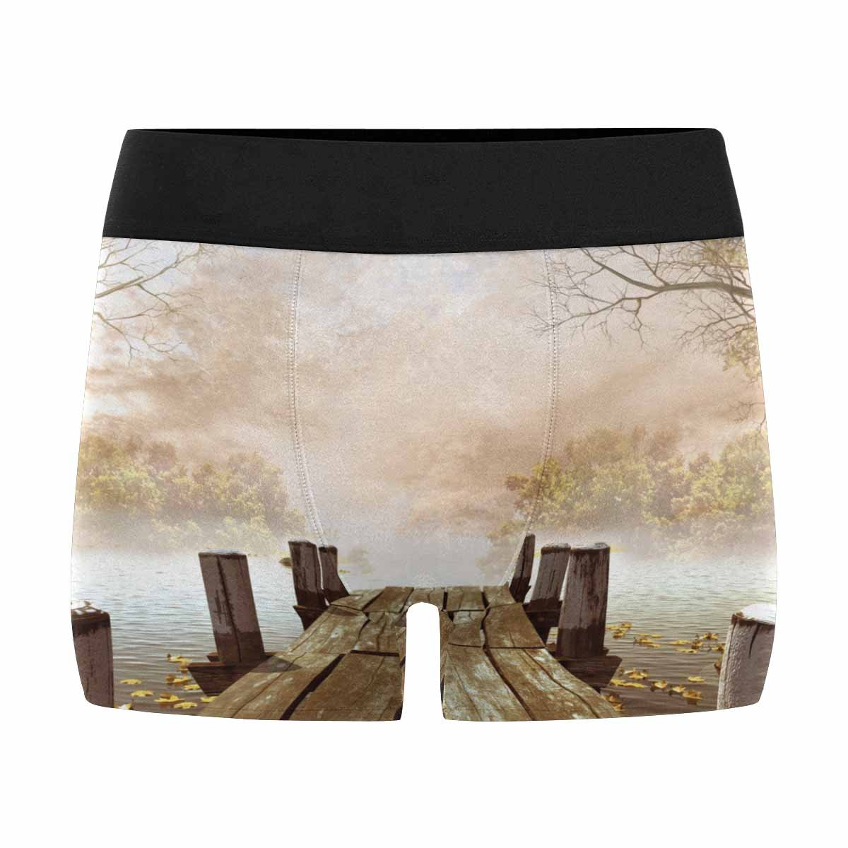 XS-3XL INTERESTPRINT Mens Boxer Briefs Underwear Wooden Dock with Leaves and Tree Branches