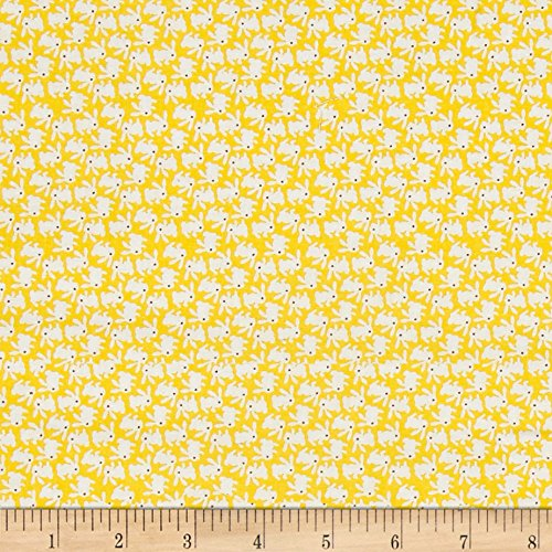 Nana Mae 1930's White Bunnies On Yellow Fabric By The Yard