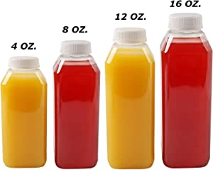 Plastic Juice Bottles, 10 Pack Food Grade BPA Free Empty Square Milk Containers, Great For Storing Homemade Juices, Milk, Beverages, With Tamper Evident Caps. (12 Oz)
