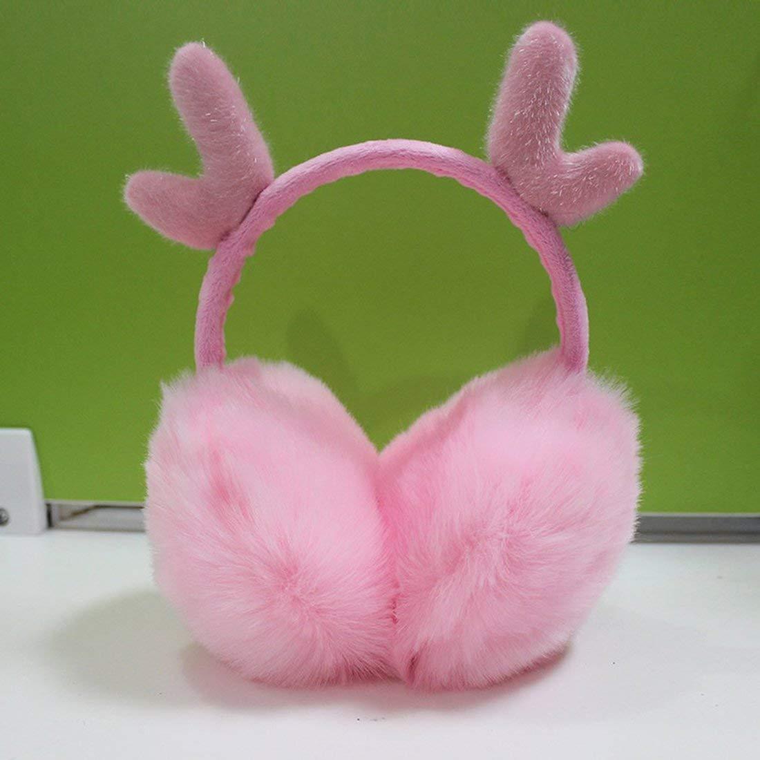 Super Soft Plush Earmuff With Deer Horn Shape Decor Lovely Cute Cartoon Earmuff Outdoor Protective Ear Cover - Pink Formulaone