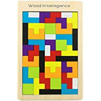 Grabdeal Wooden Tetris Puzzle Tangram Jigsaw Brain Teasers Toy Building Blocks Game Colorful Wood Puzzles Montessori Intelligence Educational Gift for Baby Toddlers Kid 40 Pcs