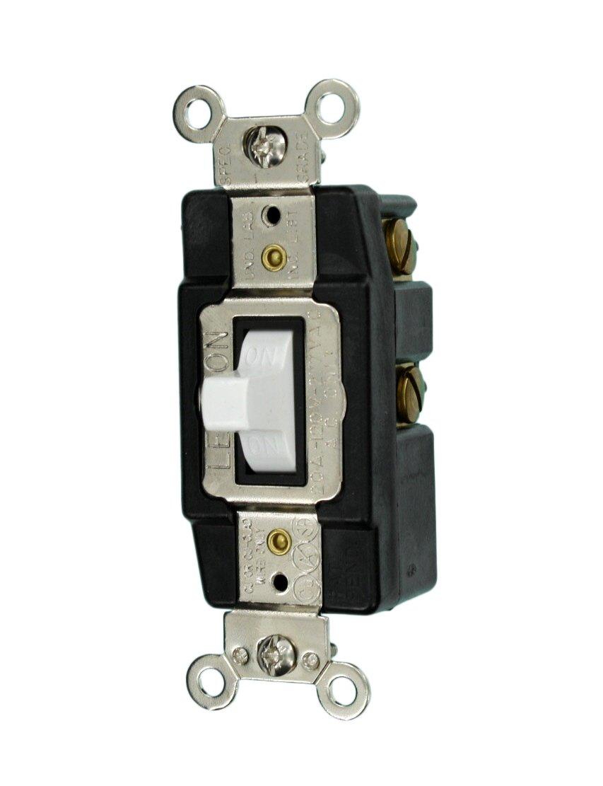 Leviton 1257-W 20-Amp 120/277-Volt Toggle Single-Pole AC Quiet ...
