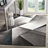 Safavieh Hollywood Collection HLW714D Grey and Teal Mid-Century Modern Abstract Area Rug (5'3 x 7'6)