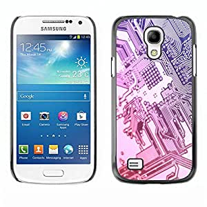 Caucho caso de Shell duro de la cubierta de accesorios de protección BY RAYDREAMMM - Samsung Galaxy S4 Mini i9190 MINI VERSION! - Computer Chip Art Code Technology Silver