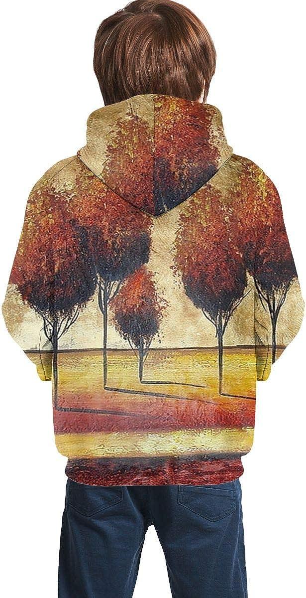 J4b756J Youth 3D Print Ancient Oil Painting Tree Pullover Hooded Sweatshirt