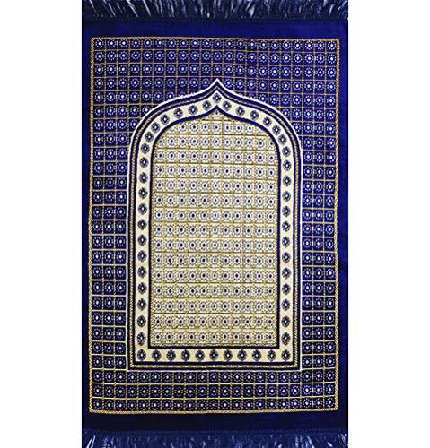 Islamic Prayer Mat Janamaz Sajjadah Muslim Turkish Sajda Velvet Lattice (Royal Blue)