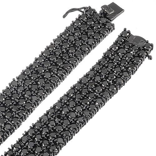 32 Inch 4-Row Black Plated Iced Out Hip Hop Chain with Black Cubic Zirconia CZs + Jewelry Polishing Cloth by The Bling Factory