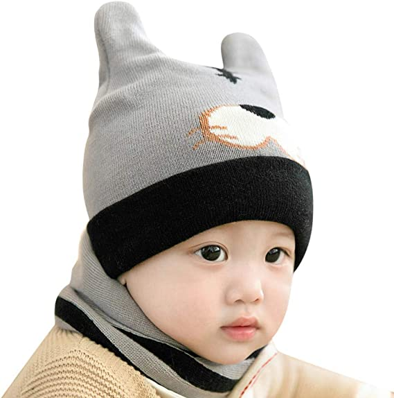 2018 Infant Baby Beanie Girl Cap Cotton Knitted Cartoon Dog Winter Hat Lovely