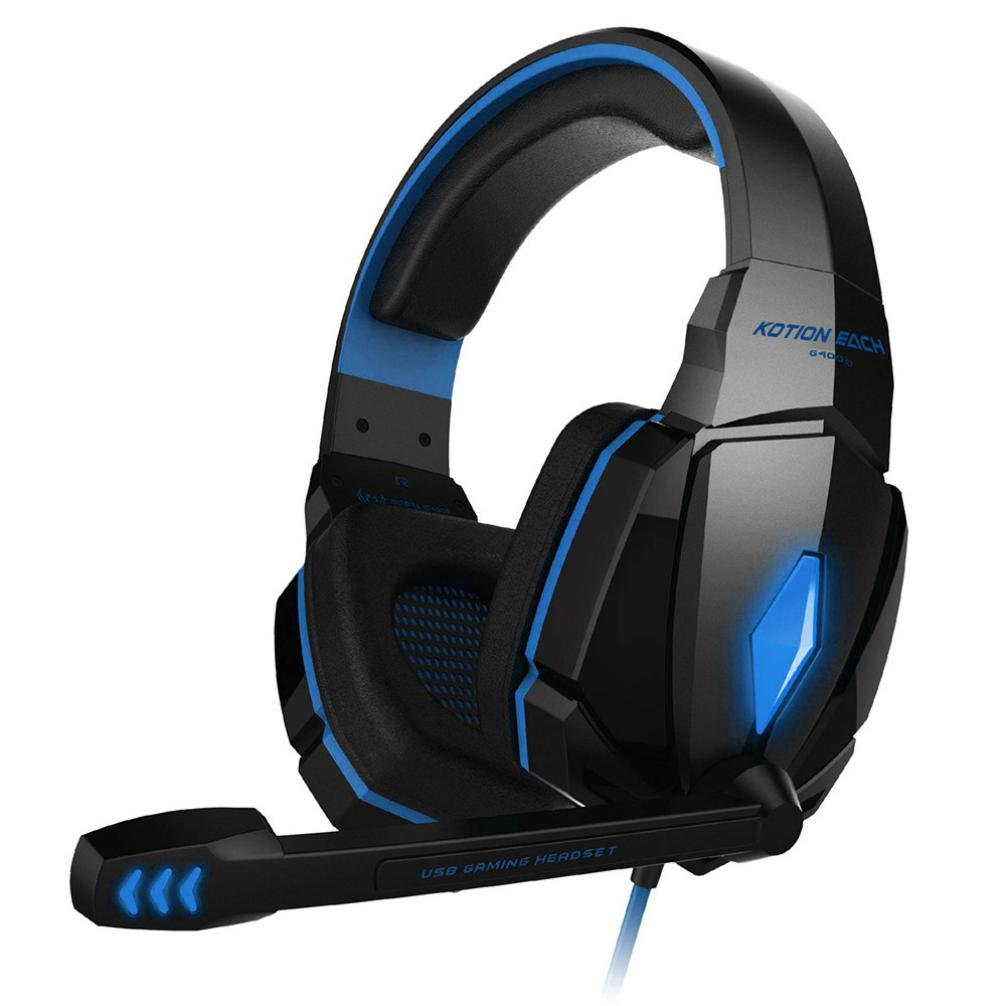 SUKEQ Gaming Headset, G4000 3.5mm Over Ear Earphones Wired Gamer Headphone with Microphone for PS4/PC/LAPTOP/Xbox 360 (blue)