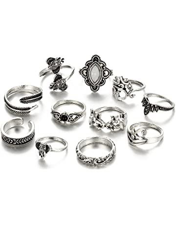 8a49558a4 Winter's Secret Vintage Size Fixed Joint Knuckle Nail Rings Sets Ancient  Silver Carving Flower for Women