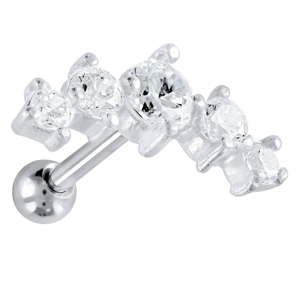 Clear Stainless Steel and 925 Sterling Silver 5 Gem Cartilage Earring