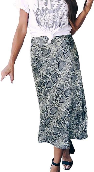 QIjinlok Faldas largas Estampadas para Mujer Falda Corta Elastica ...
