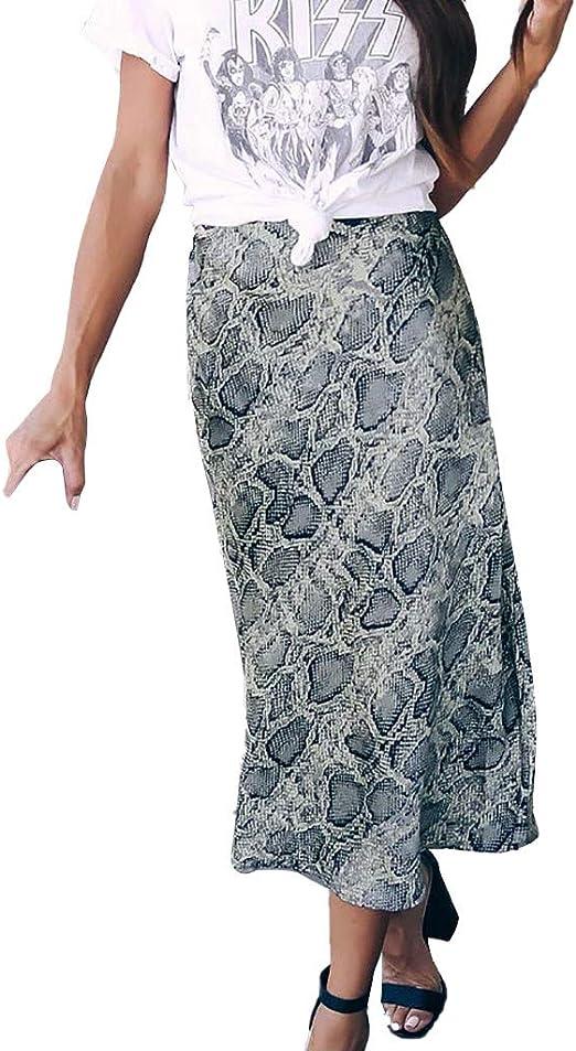 Sylar Falda Larga Mujer Cintura Alta con Patrón De Serpiente Sexy ...