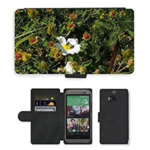 GoGoMobile Flip PU Leather Wallet Case with Credit Card Slots // M00118830 Rockrose Cistus Monspeliensis Flower // HTC One M8
