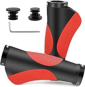 HNOOM Puños MTB Ergonomicos, Puños para Bicicleta Doble Bloqueo, Antideslizante Caucho Puños Manillar Bicicleta, para Bici de Montaña MTB BMX con Mango de Diámetro 22mm (Negro Rojo): Amazon.es: Deportes y aire libre