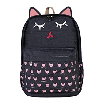 Widewing Travistar Bolsos Mochilas Mujer Casual Cartoon Cat Casual Mochilas Mujeres Girl Canvas Preppy Mochilas escolares (1): Amazon.es: Equipaje